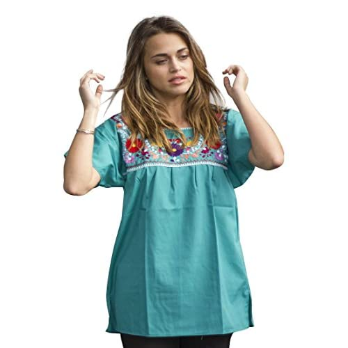 3ca1b8c5a68f4 Liliana Cruz Embroidered Mexican Peasant Blouse (Teal