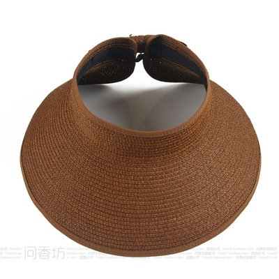 À l'été, chapeaux de plage sports loisirs plein air chapeau pliable mode chapeau de soleil, adulte, brun foncé