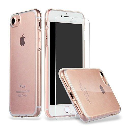 主流いろいろ石炭iPhone 8 iPhone 7 ガラスフィルム + ケース, ILUXUS 液晶保護フィルム 4.7インチ用 強化ガラス 【 3D Touch対応/硬度9H/気泡防止 】