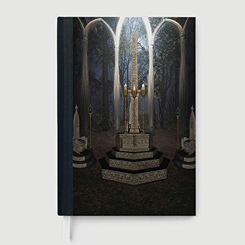 Classic Retro Hardcover Business Student Notebook,Gothic,Case Bound Notebook,The Ritual Scenery in Secret Forest Obelisk Between Marble Thrones with Skull Engraving,96 Ruled Sheets,B5/7.99x10.02 in