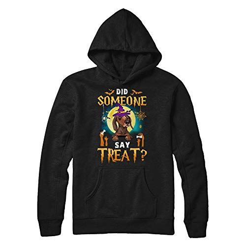 TeesPass Unisex Did Someone Say Treat Dachshund Halloween Costume Shirt Gildan - Pullover Hoodie (Black, L) ()
