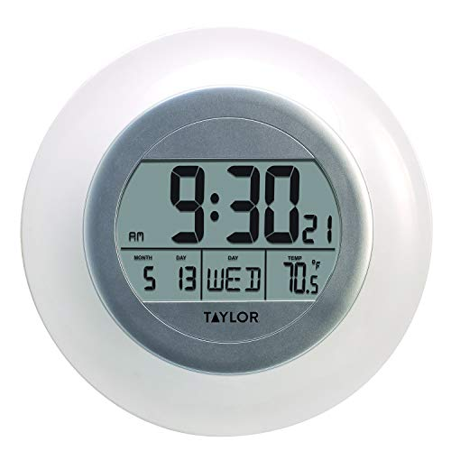 Taylor Precision Products RA36213 Taylor Atomic Wall Clock with Thermometer White