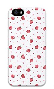 3D Hard Plastic Back Cover for iPhone 5 5S 5G,Strawberries and Red Dots Pattern Case for iPhone 5 5S 5G