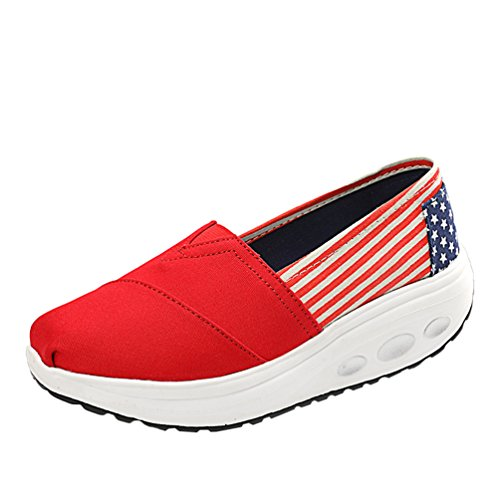 LINNUO Women Platform Sneakers Striped Canvas Wedge Heel Shoes Slip On Driving Loafers Walking Running Thick Bottom Shoes Red
