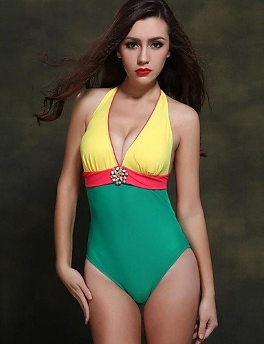 Foclassy 2015 New Arrival Women's Sexy Swimwear Push Up Plus Size One Piece Contrast Color , white-l , white-l