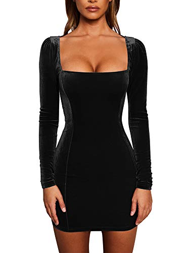 GOBLES Womens Sexy Velvet Long Sleeve Bodycon Elegant Mini Party Dress Black (Square Dresses Womens Neck)