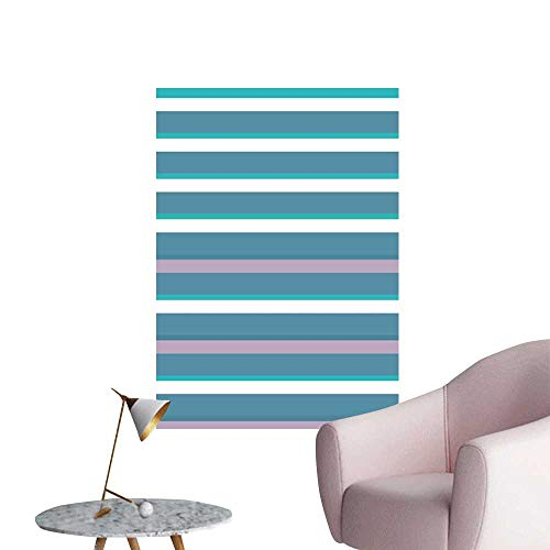 (Striped Self Adhesive Wallpaper for Home Bedroom Decor Turquoise Dark Teal Stripes Thick and Thin Lines with Aqua Colors Pattern Art Print Window Wall Sticker Teal White W32 x H48)