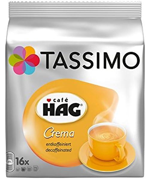 Tassimo Café HAG Crema Decaffeinato Cápsulas de Café - 5 Paquetes ...
