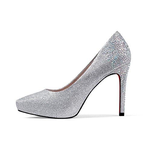 High La Oro 5cm Zapatos Spring Taiwán 9 amp;chanclas Negro Heels Heel Individuales Stiletto Plata Impermeable Xia Lady UWaFEwqO