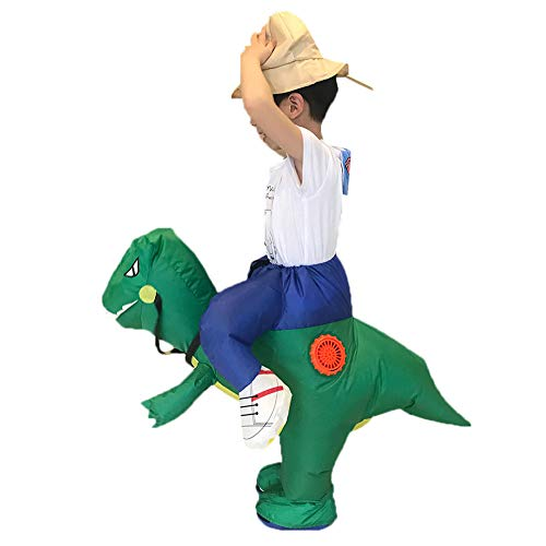 XILALU Inflatable Dinosaur Riding T-REX Costume,Kids Funny Carry Me Clothes Party Jumpsuit Costumes Cosplay Dress Up Gift for Carnival Halloween (Green, One Size) -