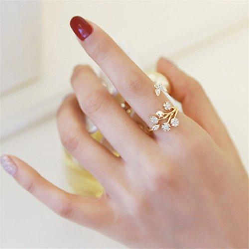 Rurah Cute Butterfly Flower Open Ring for Women Adjustable Size (Gold)