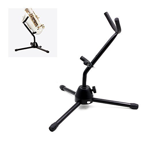 ammoon Holder Tripod Stand Metal Leg Detachable Portable Foldable for Tenor/Alto Saxophone