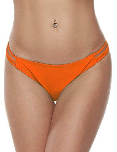 Wlone Women Brazilian Bikini Swimwear Beach Suit T-Back G-String Thong Bottom(Orange)]()