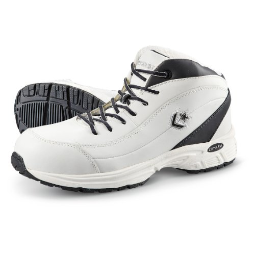 - Converse C4600 Men's White Leather Composite Toe Mid Hi Shoe-10M