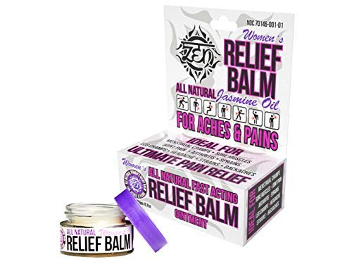 Zen Balm Women's Natural Pain Relief Balm with Jasmine Oil, 0.7 Ounces - Natural Sports Rub