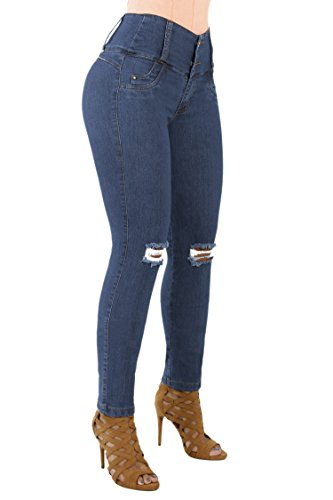 Curvify 764 Women's Butt-Lifting Skinny Jeans | High-Rise Waist, Brazilian Style (764,Indigo Washed, D2,13)