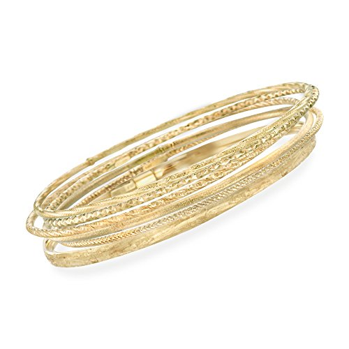 Ross-Simons Italian 14kt Yellow Gold Multi-Finish Jewelry Set: Six Bangle Bracelets. 7.5