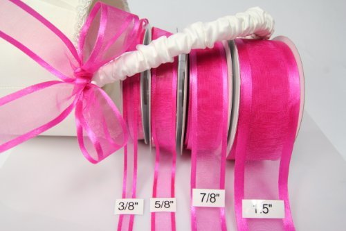 Fuchsia Organza Ribbon With Satin Edge-25 Yards X 7/8 Inches
