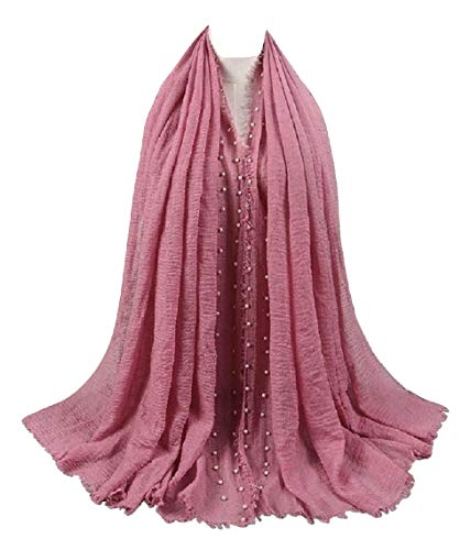 SHAYAN WOMEN HIT 2018 VISCOSE SCARF PEARL SOLID CRINKLE HIJAB SCARF SHAWL (DUSTY PINK)