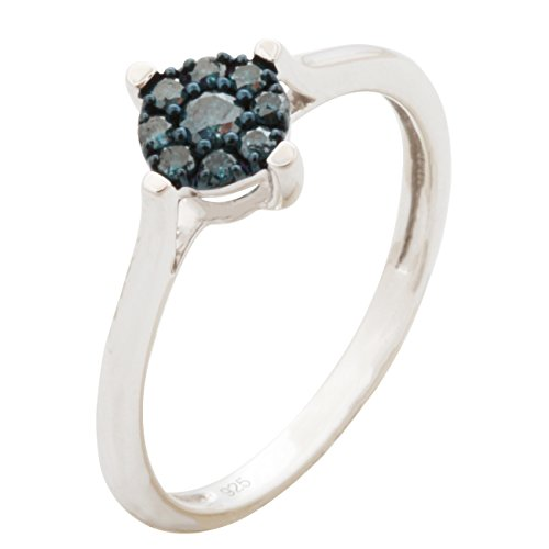 Brand New Round Brilliant Cut Blue Color Diamond Cluster Ring, 10k White Gold Size 7 by Prism Jewel