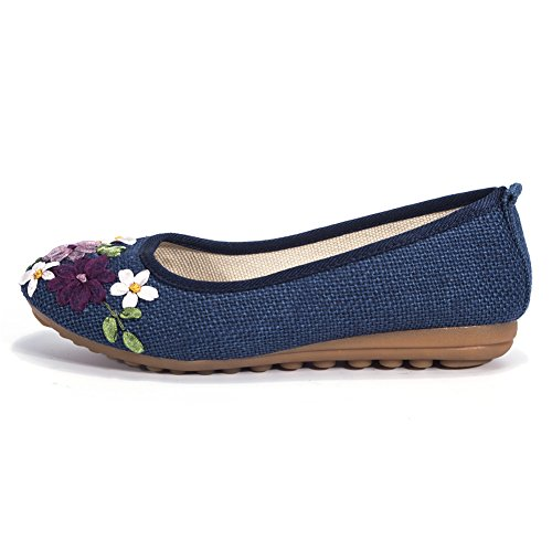 Women's Flats Shoes Flower Embroidery Round Toe Casual Slip On by FUT (Image #2)