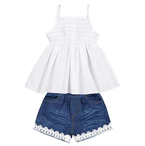 Toddler Infant Baby Girl Shorts Set Floral Ruffle Off Shoulder Tops Jeans/Denim Shorts Summer Outfits Clothing Set (White +Blue, 3-4 Years)