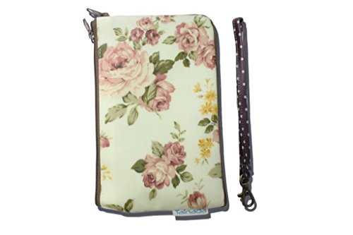 TainadaTA2Z55WP02 Smartphone Pouch, Dual Layers Zipper Purse Shockproof Water-Repellent Wristlet Bag for iPhone 7/6S/6 Plus/Samsung Galaxy Note 5/4, Floral Pattern - (Floral Wristlet)
