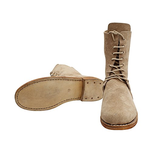 Men's Colonial Ankle High Shoes Lace-up Leather Boots (10.5) Brown]()