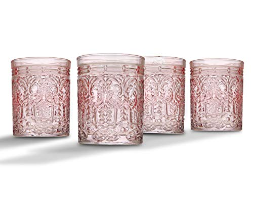 Jax Double Old Fashioned Beverage Glass Cup by Godinger - Pink - Set of 4]()