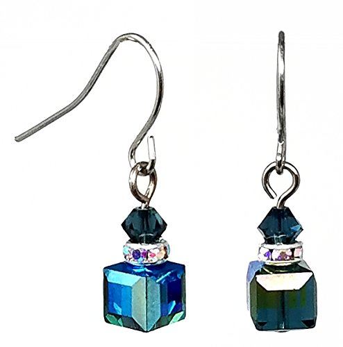 Crystal Cube Earrings made with Swarovski (tm) Crystals - Montana Blue AB (E204)