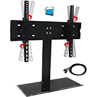 Universal Table Top Tilting TV Stand for Flat Screens Stable and Safe with Height Adjustment for 32 to 55 TV Black