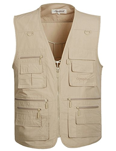 Flygo Men's Summer Casual Outdoor Utility 16 Pockets Journalist Fishing Photo Travel Vest Plus Size (Medium, Light Khaki)