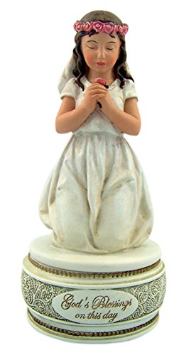 Musical Rosary Box (First Communion Kneeling Girl Figurine Rosary Box, 6 inches)