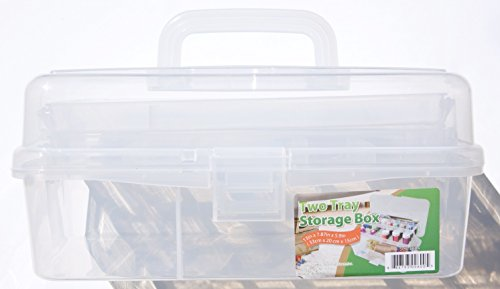 - Clear Plastic Two Tray Art Supply Craft Storage Tool Box - 13 inches