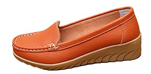 NEWZCERS Zapatos cómodos del holgazán del moccasin de la cuña del cuero del zurriago de las mujeres naranja
