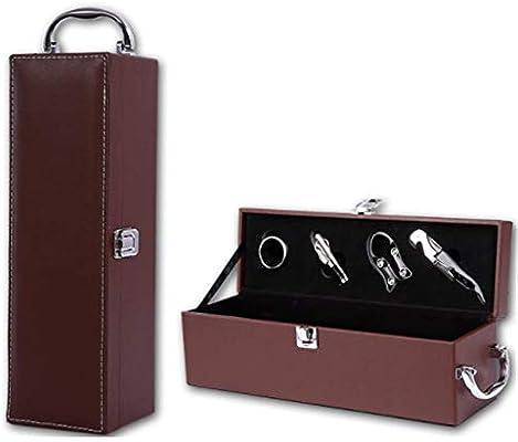Compra Accesorios de caja de botella de vino de cuero de PU, Portátil Una Botella Moderno Negro Mango Superior Portador de Viaje Estuche Portador de Vino de Cuero de LA PU Caja