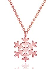 Rose Gold Snowflake Pendant Necklace - Stylish Jewelry Gifts for Women, Men, Teens, Girls
