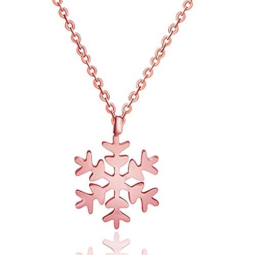 Rose Gold Snowflake Pendant Necklace - Christmas Jewelry Gift for Women, Men, Teens, Girls, Wife, Girlfriend, Friend. Comes in a Beautiful Package.