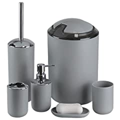 """FeatureBathroom Accessories Detail size:  Lotion Dispenser: H6.5"""" xW2.95"""" , Capacity: 250ml  Rinse Cup: H3.93"""" x W2.95"""" Toothbrush Holder: H4.15"""" x W2.95"""" Soap Dish: H0.59"""" x W3.35"""" xL 5.3""""  Toilet Brush & Holder: H7.5"""" x W3.94"""" Trash Can..."""