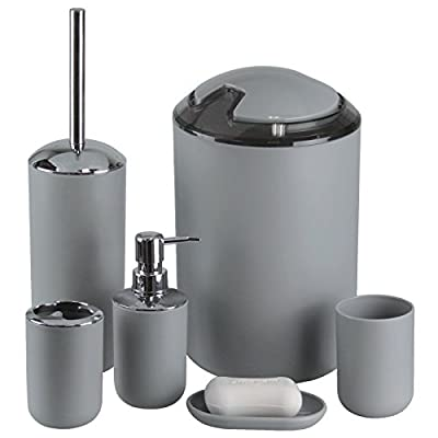 IMAVO Bathroom Accessories Set,6 Pcs Plastic Gift Set Toothbrush Holder,Toothbrush Cup,Soap Dispenser,Soap Dish,Toilet Brush Holder,Trash Can,Tumbler Straw Set Bathroom (Grey) - ★bathroom accessories Material:PP+Stainless Steel+ Metal Plating., Durable And Easy-To-Clean Plastic ★ bathroom accessoriesThe Set Includes:1 Tumbler, 1 Toothbrush Holder, 1 Lotion Dispenser, 1 Soap Dish, 1 Bathroom Trash Can And 1 Toilet Brush With Holder. ★Function: Decorate Your Bathroom, They Could Assist In Protecting Your Surface, Keep Your Bathroom Clean, Tidy And Orderly. - bathroom-accessory-sets, bathroom-accessories, bathroom - 41hBmAHzLvL. SS400  -