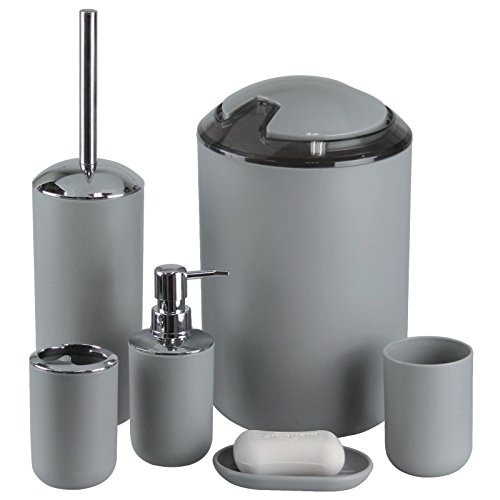 IMAVO Bathroom Accessories Set,6 Pcs Plastic Gift Set Toothbrush Holder,Toothbrush Cup,Soap Dispenser,Soap Dish,Toilet Brush Holder,Trash Can,Tumbler Straw Set Bathroom (Grey) (Cheap Bathroom Sets)