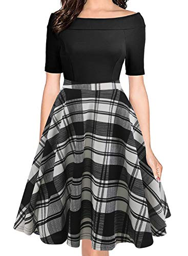 oxiuly Women's Vintage Classic Plaid Off Shoulder Pockets Casual A-Line Party Evening Swing Dress OX232 (XL, B-White Plaid)