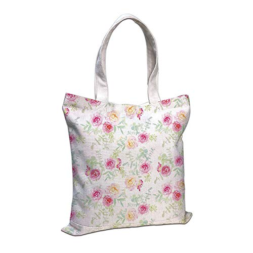 Personalized Petite Tote Bag - Cotton Linen Tote Bag, Watercolor Flower,Pale Soft Colored Petite Roses in Vintage Old Style Retro Painting,White Pink Green Shopping Camping School Casual Pocket