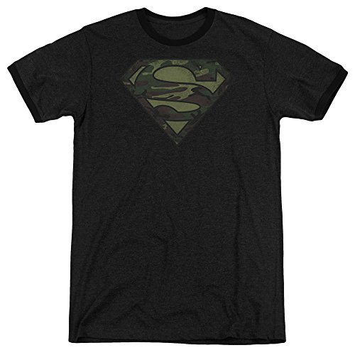 Sons of Gotham Superman - Camo Logo Distressed Adult Ringer T- Shirt (Camo Logo Ringer Tee)