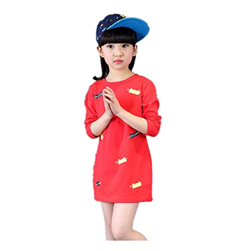 [FTSUCQ Girls Cat Pattern Pullover Long Sleeve Shirt,Red 140] (Hottest 12 Year Old Girls)