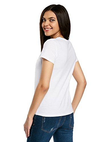 oodji Ultra Mujer Camiseta Recta con Bordado Blanco (1019P)