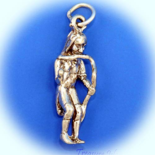 Native American Indian Snake Dancer 3D .925 Solid Sterling Silver Charm USA Made Vintage Crafting Pendant Jewelry Making Supplies - DIY for Necklace Bracelet Accessories by CharmingSS ()