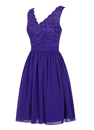 Angel Formal Dresses Women's V Neck Lace Dress Bridesmaids Dress Short Prom Dress(14,Violet)