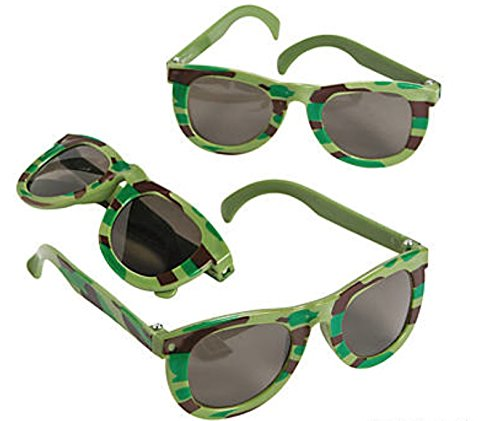 Fun Express Camo Military Army Sunglasses for Kids, 12 Count