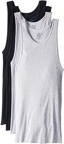 Fruit of the Loom Men's 100% Cotton A-Shirts Tank Tops Undershirts (Black/Gray, XXX-Large / 54